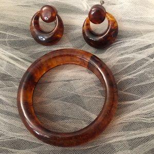 Bakelite Bangle Bracelet Earrings Set Tortoise